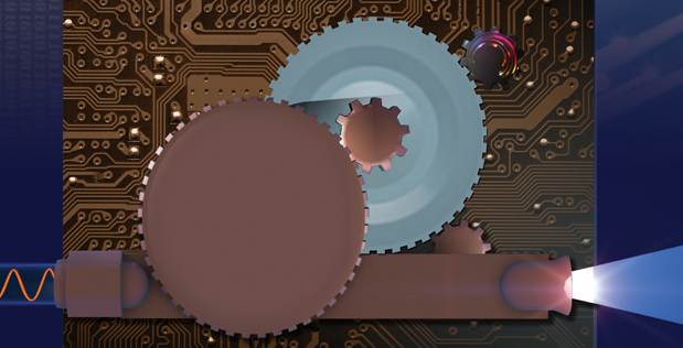 Image Caption: Under the DODOS program, researchers from NIST, University of California at Santa Barbara, and the California Institute of Technology have made significant progress advancing chip-based integrated photonics and nonlinear optics to miniaturize optical synthesizer components. Combining a pair of frequency combs, several miniature lasers, and other compact optoelectronic components, the researchers were able to replicate the capabilities of a tabletop-sized optical frequency synthesizer on four microchips.