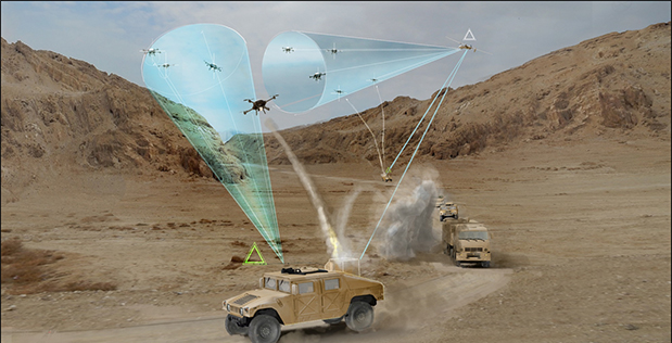 Image Caption: DARPA has issued a Request for Information (RFI) to explore ideas and approaches to improve protection of fixed and mobile ground and naval forces against a variety of threats and tactics posed by adversaries using small unmanned air systems (sUAS). Click below for a high-resolution image.