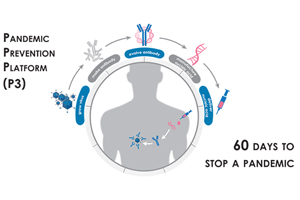 Image caption: The Pandemic Prevention Platform (P3) program aims to develop an integrated platform that uses nucleic acid sequences to halt the spread of viral infections in sixty days or less. Using nucleic-acid-based technologies pioneered by DARPA as a foundation, the program now seeks to create an end-to-end platform by developing technologies to overcome remaining bottlenecks that hinder rapid response to pandemic threats. The three required technology areas cover growth of virus to support testing of treatments; rapid evolution of protective antibodies outside of the body; and safe and efficient delivery of nucleic-acid-based protective treatments.