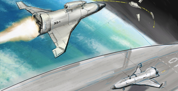DARPA's new Experimental Spaceplane (XS-1) program seeks to lower satellite launch costs by developing a reusable hypersonic unmanned vehicle with costs, operation and reliability similar to traditional aircraft. XS-1 envisions that a reusable first stage would fly to hypersonic speeds at a suborbital altitude. At that point, one or more expendable upper stages would separate and deploy a satellite into Low Earth Orbit. The reusable hypersonic vehicle would then return to earth, land and be prepared for the next flight.
