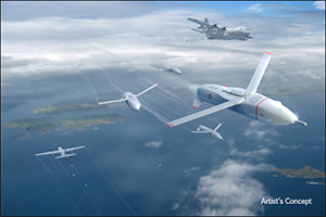 Image Caption: DARPA's Gremlins program seeks to develop innovative technologies and systems that would enable existing aircraft to launch volleys of low-cost, reusable unmanned aerial systems (UASs) and safely and reliably retrieve them in mid-air. In an important step toward that goal, DARPA has awarded Phase 2 contracts for Gremlins to teams led by Dynetics, Inc., and General Atomics Aeronautical Systems, Inc. Click below for high-resolution image.