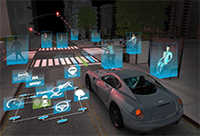 Image Caption: In this artist's conception, a driverless car's sensors scan the environs to relentlessly inform the vehicle's machine-learning (ML) system, which uses the data to guide current driving actions but also to modify its own programming and database so that the car becomes an ever safer means of transportation that can handle ever more real-world situations. Click on image below for high-resolution.