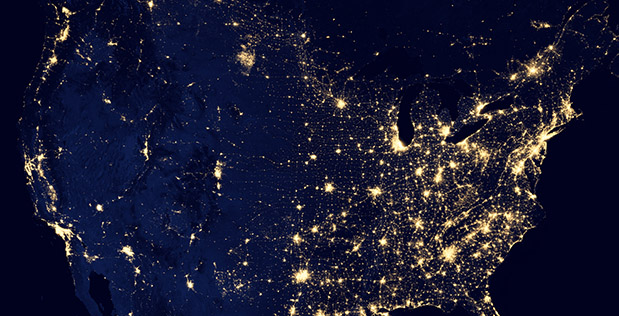 Composite image of the United States' city lights assembled from data acquired by the Suomi National Polar-orbiting Partnership (NPP) satellite