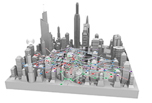 The Spectrum Collaboration Challenge (SC2) aims to ensure that the exponentially growing population of military and civilian wireless devices will have full access to the increasingly crowded electromagnetic spectrum, which is represented in the image as a colorful set of overlapping radio networks in an urban setting. SC2 competitors will reimagine spectrum access strategies and develop a new wireless paradigm in which radio networks will autonomously collaborate and reason about how to share the RF spectrum, avoid interference, and jointly exploit opportunities to achieve the most efficient use of the available spectrum.