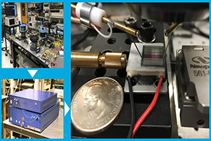 "Caption: An innovative ""optical comb"" receiver that retrieves sub-noise ""spread-spectrum"" signals has been evolving from a rough tabletop phase, to a streamlined desk-top version, and on its way to a chip-scale finale that could became the basis of new assured channels of communication for unmanned aerial vehicles and other platforms and devices that require wireless connectivity."