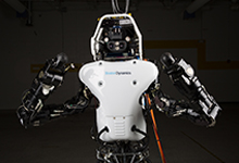 The Atlas robot was redesigned with the goal of improving power efficiency to better support battery operation. Approximately 75 percent of the robot was rebuilt; only the lower legs and feet were carried over from the original design. (DARPA image)