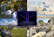 This photo illustration shows mathematical sheaves (center) being used for sensor fusion and tracking. One of the goals of DARPA's Complex Adaptive System Composition and Design Environment (CASCADE) program is to leverage sheaf theory and similar mathematical techniques to enable formal fusion of broader classes of data and models. CASCADE could enable modeling and design of airborne system-of-systems concepts (top right) and advanced forward-deployed surgical capabilities (top left). The program could also help the Department of Defense fulfill its role of providing humanitarian assistance in response to a devastating earthquake, hurricane or other catastrophe, by developing comprehensive response models that account for the many components and interactions inherent in such missions, whether in urban or austere environs.