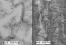 "Viewed at 100x magnification, the above images reveal the differences at the microstructure level between traditional and additive manufacturing processes for a product made of the same nickel-based superalloy. The left image shows the material's features when using traditional casting manufacturing to produce a block of raw material. The right image shows the many ""microweld"" beads created by the additive process where a laser heats the alloy powder to deposit the material layer by layer. For size comparison, the .005"" ruler in each image is approximately the thickness of a single sheet of printer paper. In part because of these microstructure differences, an additively manufactured part has different properties and behaviors than would be expected from a part made from the same material using conventional processes. DARPA's Open Manufacturing program aims to understand and precisely control new manufacturing processes to ensure the required degree of confidence in the manufactured product."