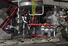 Artist's concept of robots competing in the DARPA Robotics Challenge