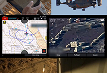The PCAS system includes two main components, PCAS-Air and PCAS-Ground, which connect aircraft with troops on the ground for shared situational awareness, communications, fire coordination, mapping and synchronized views of the battlefield. Shown clockwise from upper left: 1) Marine uses PCAS-Ground tablet to call for a strike and pinpoint coordinates; 2) modified MV-22 aircraft is dispatched; 3) aircraft crew calls up data on PCAS-Air tablet; 4) target is engaged. In this test, the entire process from initiation to impact took just over four minutes.