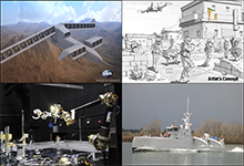 DARPA's Tactical Technology Office (TTO) focuses on developing and demonstrating innovative system-level technologies and prototypes that apply the Office's cross-cutting themes (autonomy/cooperative unmanned systems, cost inversion/imposition, weapons, power and propulsion, as well as agile development approaches) in the following focus areas: Air systems (upper left), ground systems (upper right), space systems (lower left) and maritime systems (lower right). Click below for high-resolution image.