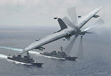 DARPA has awarded Phase 3 of Tern to a team led by the Northrop Grumman Corporation. DARPA plans to build a full-scale demonstrator system of a medium-altitude, long-endurance unmanned air system (UAS) designed to use forward-deployed small ships as mobile launch and recovery sites. Click on image below for high-resolution.