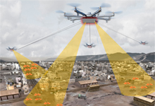 Image Caption: An artist's concept shows elements of a notional Aerial Dragnet system: Several UASs carrying sensors form a network that provides wide-area surveillance of all low-flying UAS in an urban setting.