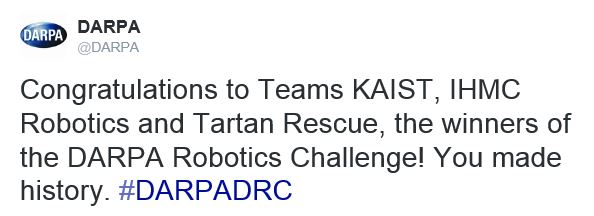 Congratulations to Winners of DARPA Robotics Challenge
