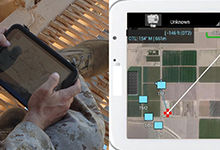 The Marines' PCAS tablet capability revolves around the KILSWITCH application developed by program partner NAWC-WD. At well under a pound, a KILSWITCH tablet provides Marines with actionable data and enhanced situational awareness over an extended area even when their view is otherwise obstructed. In the screenshot here, dismounted Marine infantry elements, along with a JTAC and a sensor-equipped overhead Marine CAS aircraft (the red cursor indicates where the sensor is pointing) use this system to collaborate on a complex engagement.